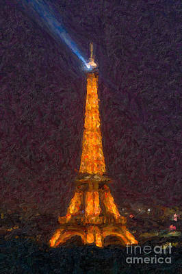 Impasto Oil Photograph - Eiffel Tower At Night Impasto by Clarence Holmes