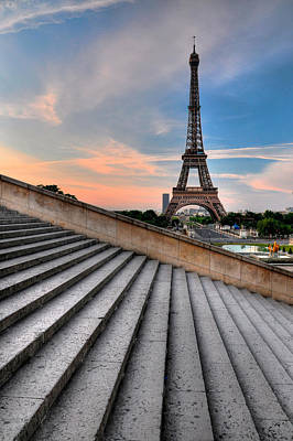 Paris Photograph - Eiffel Tower At Sunrise, Paris by Romain Villa Photographe