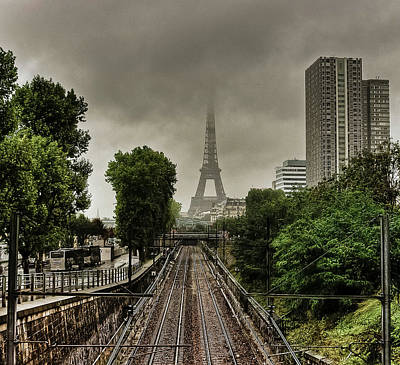 Eiffel Tower In Clouds Print by Stéphanie Benjamin
