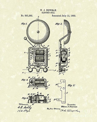 Bell Drawing - Electric Bell 1893 Patent Art by Prior Art Design