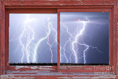 Picture Window Frame Photos Art Photograph - Electric Skies Red Barn Picture Window Frame Photo Art  by James BO  Insogna