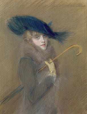 Elegant Lady Print by Paul Cesar Helleu