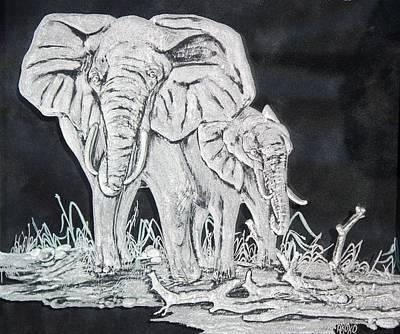 Elephant And Calf Print by Akoko Okeyo