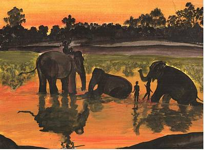 Painting - Elephant Bath by Archana Saxena