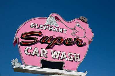 Neon Photograph - Elephant Car Wash--seattle by Matthew Bamberg