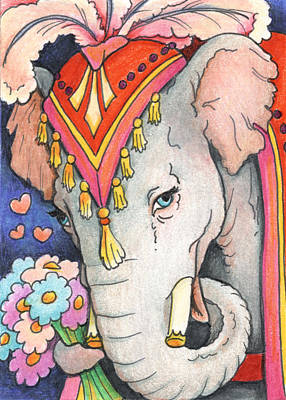 Artist Trading Cards Drawing - Elephant Flowers by Amy S Turner