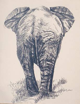 The Big Five Drawing - Elephant Leaving by Cecilia Putter