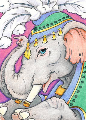 Artist Trading Cards Drawing - Elephant Smile by Amy S Turner
