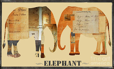 Juvenile Licensing Mixed Media - Elephants Juvenile Licensing Art by Anahi DeCanio