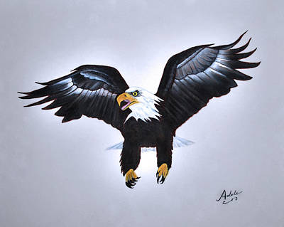 Eagle Painting - Elliott The Eagle by Adele Moscaritolo