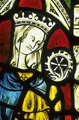 Ely Cathedral, Stained Glass, St Catherine, Wheel Print by Neil Holmes