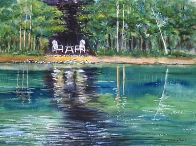 Kristine Painting - Emerald Reflections I by Kristine Plum