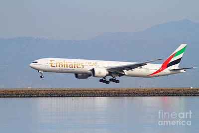 Emirates Airline Jet Airplane At San Francisco International Airport Sfo . 7d12100 Print by Wingsdomain Art and Photography