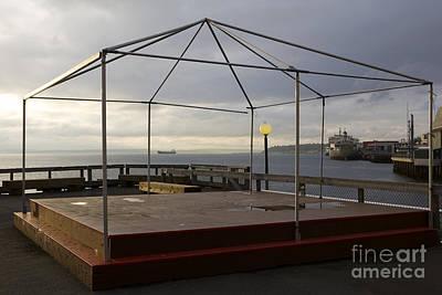 Empty Stage On Pier, Seattle, Washington Print by Paul Edmondson
