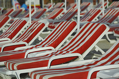 Menton Photograph - Empty Sun Loungers On A Beach by Cornelia Doerr