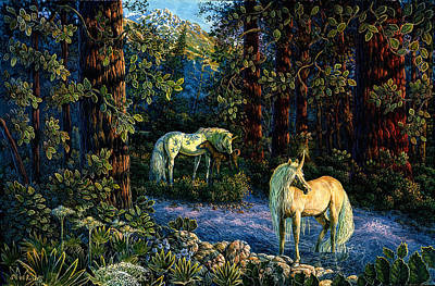 Unicorn Art Painting - Enchanted Forest by Steve Roberts