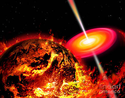 Collision Of Worlds Digital Art - End Of The World The Earth Destroyed by Ron Miller
