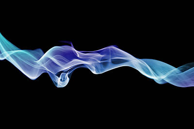 Energetic Spirals Of Blue Smoke Print by Anthony Bradshaw
