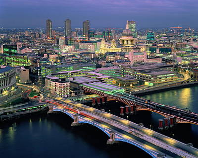 Part Of Photograph - England,london,blackfriar's Bridge, St.paul's And The City,dusk by Ary Diesendruck