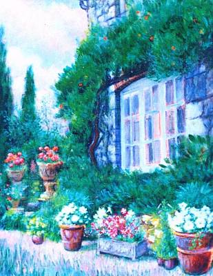 Walkway Drawing - English Cottage And Pathway Garden 1 by   Armand  Storace