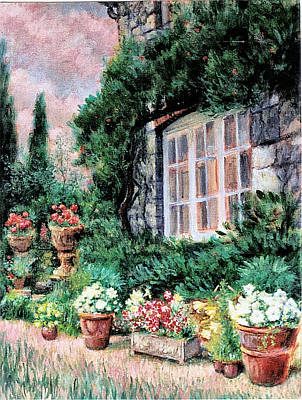 Walkway Drawing - English Cottage And Pathway Garden 2 by    Armand  Storace