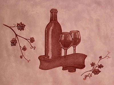 Bottle Of Wine Painting - Enjoying Red Wine  Painting With Red Wine by Georgeta  Blanaru