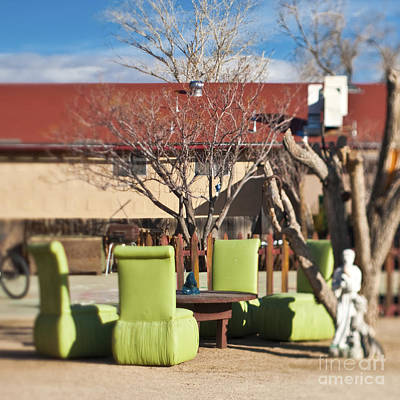 Pioneertown Photograph - Ensemble Of Seats Arranged Outside by Eddy Joaquim