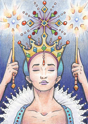 Artist Trading Cards Drawing - Enter The Frost Queen by Amy S Turner