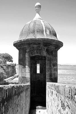 Caribbean Photograph - Entrance To Sentry Tower Castillo San Felipe Del Morro Fortress San Juan Puerto Rico Black And White by Shawn O'Brien