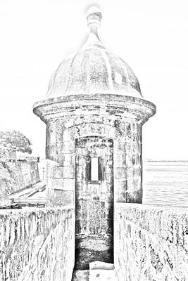 San Juan Digital Art - Entrance To Sentry Tower Castillo San Felipe Del Morro Fortress San Juan Puerto Rico Bw Line Art by Shawn O'Brien