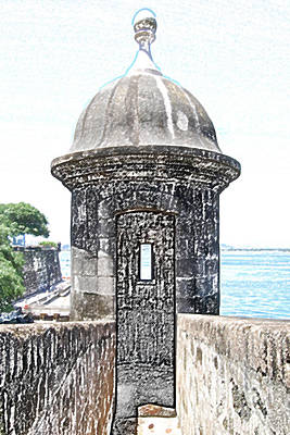 Entrance To Sentry Tower Castillo San Felipe Del Morro Fortress San Juan Puerto Rico Colored Pencil Print by Shawn O'Brien