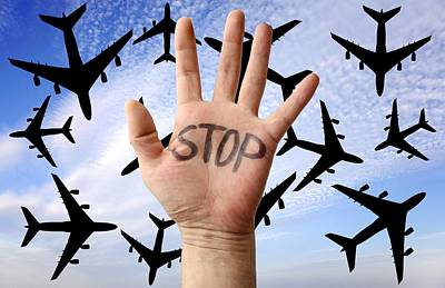 Passenger Plane Photograph - Environmental Protest by Victor De Schwanberg
