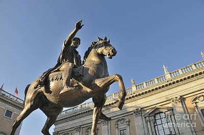 Equestrain Statue Of Emperor Marcus Aurelius In Piazza Del Campidoglio.capitoline Hill. Rome. Italy. Print by Bernard Jaubert