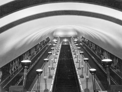 Escalators In A Tube Station Print by Maynard Owen Williams