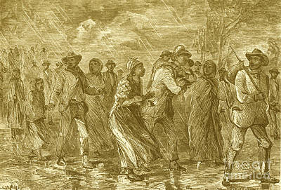 Escaping To Underground Railroad Print by Photo Researchers