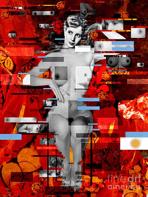 Madonna Digital Art - Eva Peron Nude En Rouge by Karine Percheron-Daniels