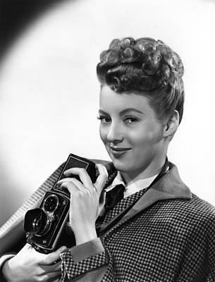 Evelyn Keyes, With A Rolex Camera, Ca Print by Everett