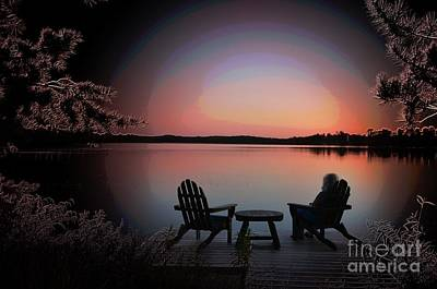 Loon Digital Art - Evening At Loon Lake by The Stone Age