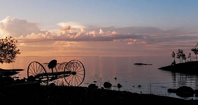Evening Bell. Sunset On Valaam Island. Northern Russia Print by Jenny Rainbow
