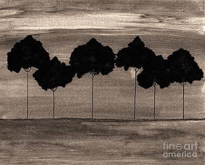 Nightime Painting - Evening Tree Grove by Marsha Heiken
