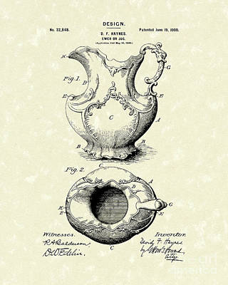 Breakfast Drawing - Ewer Or Jug Design 1900 Patent Art by Prior Art Design