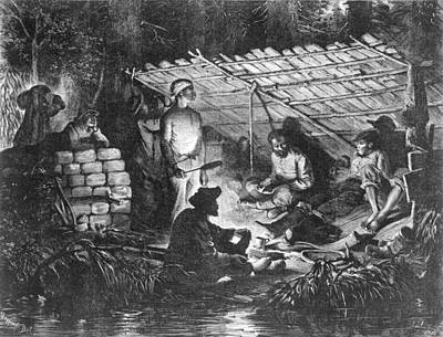 Ex-slaves Hiding In The Swamps Print by Everett