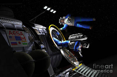 Constellation Digital Art - Explorers In Space Suits Exit An by Walter Myers