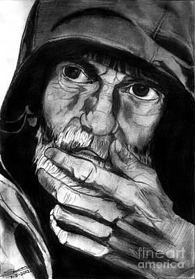 Shashi Kumar Drawing - Expressive Man by Shashi Kumar