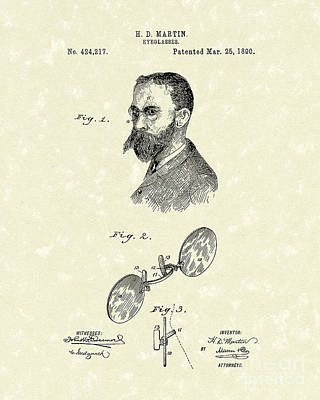Seeing Drawing - Eyeglasses 1890 Patent Art by Prior Art Design