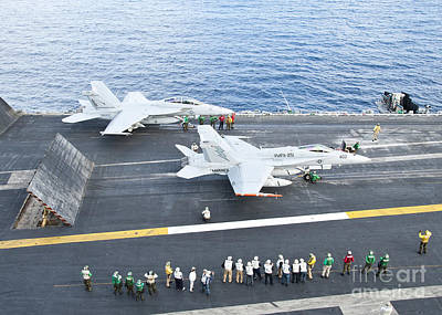 Fa-18 Aircraft Prepare To Take Print by Stocktrek Images