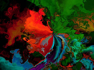 Faa Abstract 3 Invasion Of The Reds Print by Claude McCoy