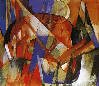 Fragment Painting - Fabulous Beast II by Franz Marc