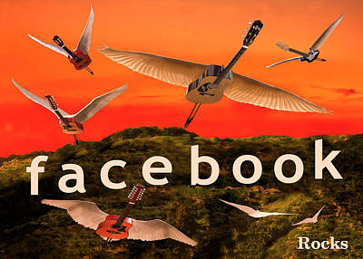 Flying Guitars Digital Art - Facebook Rocks by Eric Kempson