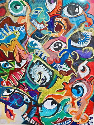 Faces In A Crowd Print by Jame Hayes